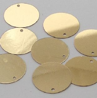 25mm Metallic Gold Penny Sequins x 100